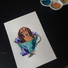 #dachshund #teacup #watercolor #sashaunisex ☕️ #dachshundtattoo