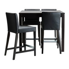 Bjursta / Henriksdal Bar Table And 4 Bar Stools, Brown-black, Robust Black
