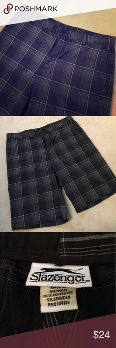 """SLAZENGER Men's Shorts Lightweight men's flat front shorts in a great modern plaid design. Front & back pockets. Inside and outside buttons, zip closure & belt loops. Great golf shorts or cool dress shorts. 11"""" inseam and 36"""" waist. Worn 3-4 times- they look brand new and are easy to wash. Slazenger Shorts Flat Front"""