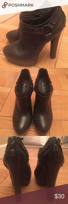 Black Aldo Booties Black leather aldo booties. Ankle strap. High heel approx 5.5 inches with platform. Only worn 1 time!!! Aldo Shoes Ankle Boots & Booties