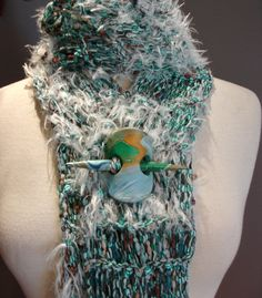 Shawl Pin Large stone Pin Wool Knitting Fire Agate Fiber Turquoise Cooper