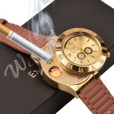 USB Rechargeable Sports Quartz Watch Windproof Flameless Cigarette Lighter Watch #ckeyin