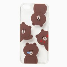 Line Friends Brown Pattern iPhone 6 6s Plus Jelly Clear Fitted Case Skin Cover #NaverLineFriends