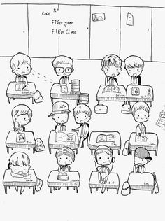 EXO in a classroom ^^ so adorable!  I want to be in this class! - fanart