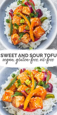 Recipes Dinner This sweet and sour tofu with bell peppers and a tangy orange sauce is a healthy, easy recipe. Perfect for a weeknight dinner and a great way to make tofu taste good. Gluten-free, oil-free and ready in just 40 minutes. Vegan Dinner Recipes, Vegan Dinners, Vegan Recipes Easy, Asian Recipes, Whole Food Recipes, Vegetarian Recipes, Recipes For Tofu, Easy Vegan Dinner, Supper Recipes