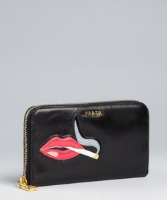 Prada : black leather smoking lips zip continental wallet : style # 320503201
