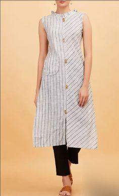 Hand loom Cotton Kurta with stripes placement and buttons detailing. Salwar Neck Designs, Kurta Neck Design, Dress Neck Designs, Kurta Designs Women, Blouse Designs, Kurti Sleeves Design, Sleeves Designs For Dresses, Kurti Patterns, Dress Patterns