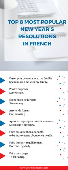 Write your new year's resolutions in french.#learnfrench #fle #frenchimmersion