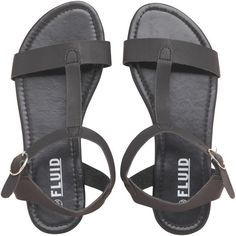 Fluid Womens Sandals Black featuring polyvore, fashion, shoes, sandals, black shoes, kohl shoes and black sandals