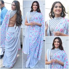 Sonam Kapoor continues to promote 'Neerja' in style. The actress once again served up an elegant saree look by Abu Jani Sandeep Khosla. Drape Sarees, Saree Draping Styles, Saree Styles, Blouse Styles, Sonam Kapoor Saree, Bollywood Saree, Bollywood Fashion, Indian Dresses, Indian Outfits