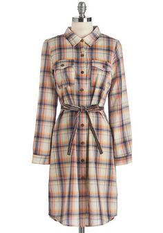 Look Into My Improvise Dress. Strumming the guitar to your hearts content, you play the afternoon away in this plaid shirtdress, which fascinates with hues of navy, terra-cotta, goldenrod, and cream. #multi #modcloth