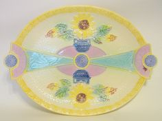 English Antique Majolica Serving Tray Samuel Lear Sunflower and Classical Urn #Majolica