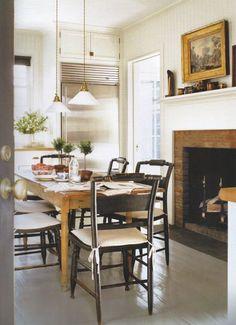 Gil Schafer Kitchen, fireplace, refrigerator next to mudroom door