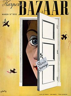 Illustration Cover by A. Cassandre French), March Harper's Bazaar, 33 x cm. Surrealism Graphic Design - Harper`s Bazaar March 1939 by CASSANDRE Vintage Magazines, Vintage Ads, Vintage Posters, Harper's Bazaar, Bazaar Ideas, Fashion Magazine Cover, Magazine Art, Magazine Covers, Illustrations