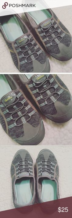Skechers Memory Foam Slip on Gray + Teal Sz 10 Some wear, see pictures. Recently washed. Skechers Shoes Flats & Loafers