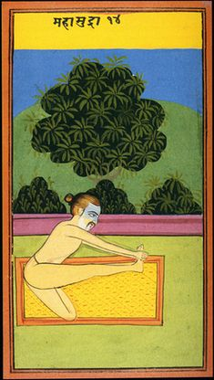 Image from a manual of Haya Yoga postures from the Punjab dated about Painted on thick card. Islamic Paintings, Indian Paintings, Yantra Yoga, Tantra Art, Yoga India, Indian Yoga, Yoga Illustration, Ayurveda Yoga, Indian Folk Art