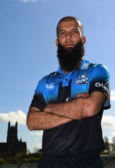 Moeen Ali of Worcestershire County Cricket Club poses in the NatWest Blast kit during the Worcestershire County Cricket photocall held at New Road on April 2017 in Worcester, England. Worcester England, Cricket, Ali, Poses, Sport, Figure Poses, Deporte, Sports, Ant