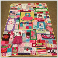 My memory quilt made from baby clothes. Turned out really cute. Quilt Baby, Baby Memory Quilt, Memory Quilts, Baby Clothes Blanket, Quilts From Baby Clothes, Home And Family Crafts, Keepsake Quilting, Baby Memories, Quilted Wall Hangings