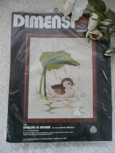 Adorable Vintage Unopened Crewel Kit With Duckling By Dimensions From 1977 - Includes Persian Wool Yarns by MossyCottage on Etsy