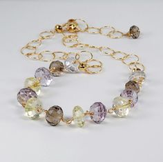 Amethyst, Citrine, Smokey Topaz Wire Wrapped Necklace. Mixed Gemstone Wire Wrapped Necklace by Agusha. on Etsy, $138.00