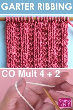 Garter Ribbing Stitch Knitting Pattern So easy! Garter Ribbing Stitch Knitting Pattern creates columns of smooth Stockinette Stitch separated by two rows of Garter Stitch texture, easy for beginning knitters. Rib Stitch Knitting, Knitting Stiches, Knitting Videos, Knitting Needles, Knit Stitches, Loom Knitting, Knitting Machine, Beginner Knitting Patterns, Knitting Basics