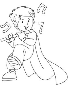 Boy playing flute coloring page