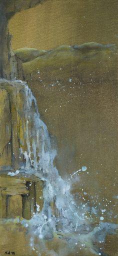 "For Sale: Golden Waterfall by Barbara Mink | $100 | 12""w 26""h | Original Art | http://www.vangoart.co/buy/art/golden-waterfall @Vango"