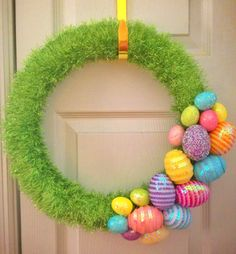 Easter Green Grass Yarn Spring Wreath with by MelissasGlueGunShop