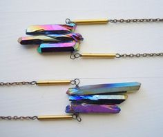 Raw Rough Crystal Necklace   Titanium Rainbow  Free by NaturalGlam, reeeeeallly love these necklaces!
