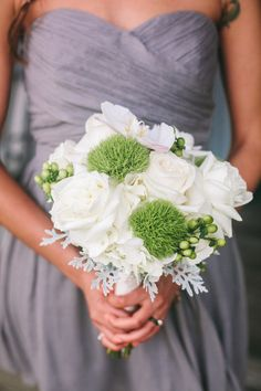 Wedding Colors: Gray Green White | Bouquet: White Roses and ??? | Photography: Pasha Belman | Read More: http://stylemepretty.com/2013/08/14/south-carolina-wedding-from-pasha-belman-and-stunning-brilliant-events/