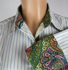 ROBERT GRAHAM Top Size 6 S Long Sleeve White Blue Stripe Paisley Cuff Shirt #RobertGraham #ButtonDownShirt #Career