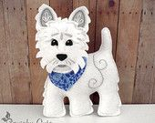 Dog Sewing Pattern PDF - West Highland Terrier Stuffed Animal Felt Plushie - Winston The Westie - Instant Download