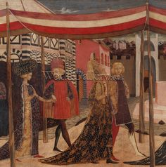 Giovanni di ser Giovanni Guidi (see Scheggia) Wedding of Boccaccio and Lisa Ricasoli.Frontal from the Adimari Cassone depicting a wedding scene in front of the Baptistry, c.1450 Galleria dell'Accademia, Florence, Italy.