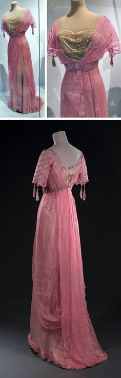 Evening gown, early 20th century. Pink chiffon and ivory tulle embroidered with sequins, beads, & rhinestones on a background of ivory silk satin. Musée Galliera at an exhibit at the Carnavalet Museum.