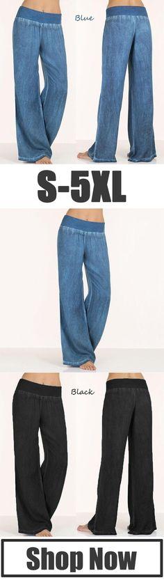 63% OFF NOW! Loose Wide Leg Elastic Waist Yoga Trousers