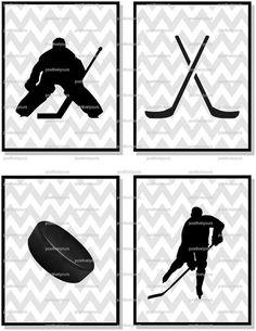 Gray Chevron Hockey Printables - Perfect for Nursery or Big Kid Room! on Etsy, $20.00