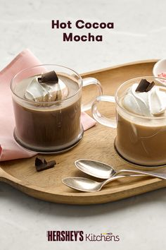 Are you in the mood for both a co ee and a hot chocolate? This simple Hot Cocoa Mocha recipe will do the trick. This easy drink is made with HERSHEY'S SPECIAL DARK Cocoa and coffee, for a drink that will heat up a crisp winter morning or night next to the fireplace.