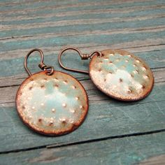 Bumpies- Enameled Copper Disc Earrings. $30.00, via Etsy.