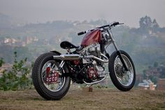 Royal Enfield custom bobber with the classic 350cc engine and a 5-speed gearbox