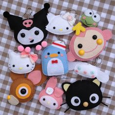 Marcia Kuwahara Anime Crafts, Kawaii Crafts, Felt Owls, Felt Cat, Felt Fish, Felt Pouch, Cute Sewing Projects, Needle Felted Cat, Felt Gifts