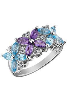 Diamond Topaz Amethyst Flower Ring In Blue $275.00 to $79.99