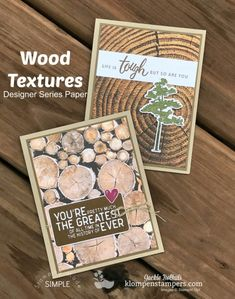 Looking for Masculine cards? Lots of card design ideas for guys in this post featuring Stampin' Up Wood Textures Designer Series Paper. These are quick cards to make and easy cards at that! Quick Cards, Cute Cards, Paper Cards, Men's Cards, Greeting Cards, Card Making Kits, Wood Stamp, Fathers Day Cards, Wood Texture
