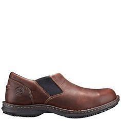 Men's Timberland PRO Gladstone ESD Steel Toe Slip-On Work Shoes Brown Full-Grain