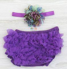 Purple Peacock Flower Baby Headband and Chiffon Ruffle Bloomers