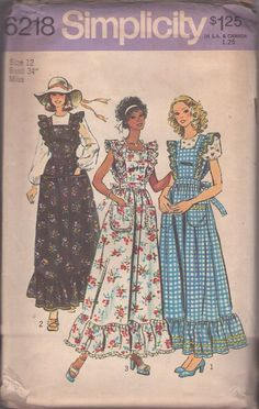 MOMSPatterns Vintage Sewing Patterns - Simplicity 6218 Vintage 70's Sewing Pattern DARLING Retro Ruffled Hem Long Pinafore Apron Maxi Dress, Jumper