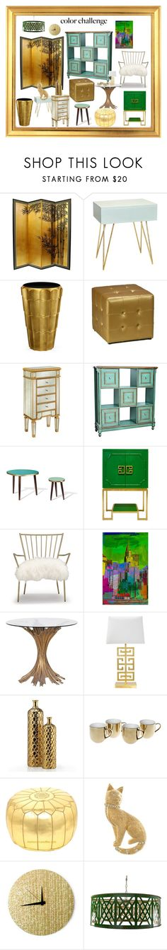 """""""Gold and/or Green furniture"""" by longopaola ❤ liked on Polyvore featuring interior, interiors, interior design, home, home decor, interior decorating, Worlds Away, Jonathan Charles Fine Furniture, Cortesi Home and Universal Lighting and Decor"""