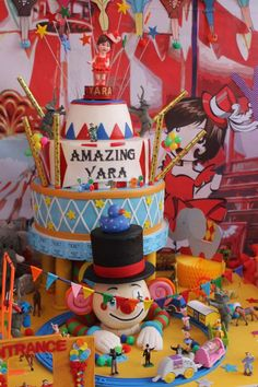 Amazing cake at a circus birthday party! See more party planning ideas at CatchMyParty.com!