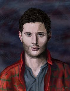 I made this project for a friend who was going to meet with Jensen Ackles, a famous actor. She adores his work and I wanted to amek something special for him to sign for her. Supernatural Dean, Dean Winchester, Jensen Ackles, Fan Art, Actors, Portrait, Illustration, Headshot Photography, Men Portrait