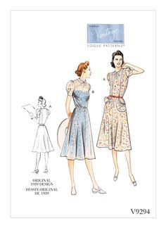 Buy Vogue Women's Dress Sewing Pattern, 9294 from our Sewing Patterns range at John Lewis & Partners. Vogue Patterns, Robes Vintage, Vintage Dresses, Vintage Vogue, Simple Dresses, Sexy Dresses, Summer Dresses, Simple Dress Pattern, 1930s Dress
