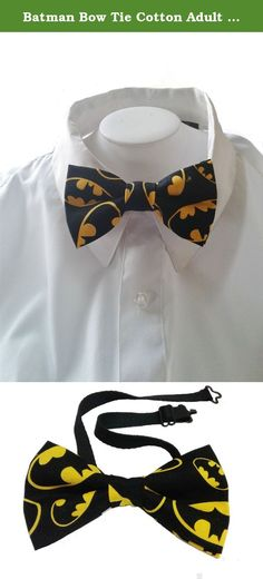 """Batman Bow Tie Cotton Adult 4.5"""" x 2.5"""". This meticulously handcrafted double layered bow tie is made of cotton. Recommended for ages 12 and up. It has a metal clip-on and is pre-tied. Ties are great for every day wear. Handcrafted in the USA. Equipped with a solid metal clip that you just open and put on collar and close. Easy on and off for a comfortable and perfect fit every time. To clean, gently rub with a damp cloth or hand wash, as needed, and lay on a flat surface overnight to…"""